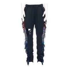 new ALCHEMIST Ryder washed black cotton holey tweed fringe trimmed sweatpants L