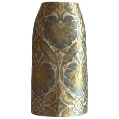 New Alexander McQueen 2006 Cream Green and Yellow Jacquard Pencil Skirt