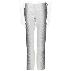 new ALEXANDER MCQUEEN 2009 grey ombre striped slim leg pant IT44 XS