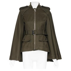 new ALEXANDER MCQUEEN 2015 khaki green belted military cape jacket IT36 XS