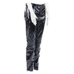 new ALEXANDER MCQUEEN AW08 black patent leather skinny biker pants IT40 S
