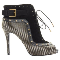 new ALEXANDER MCQUEEN black suede gold stud peep toe lace up ankle bootie EU37