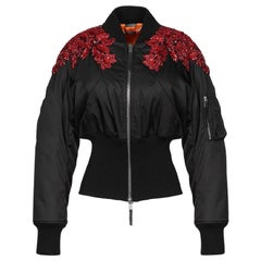 New Alexander McQueen Embellished Jeweled Black Puffer Jacket It. 40