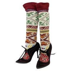 New Alexander McQueen F/W 2005 Norwegian Ethnic Knitted Boots It 39 - US 9