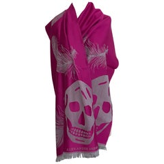 New Alexander McQueen Feather and Skull Scarf in Fuchsia