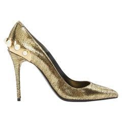 new ALEXANDER MCQUEEN metallic gold leather pearl embellished pointy heel EU38