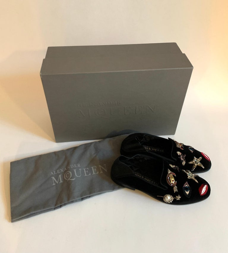 New Alexander Mcqueen Obsession Charm Velvet Loafers Smoking Slippers Flat Shoes For Sale 5