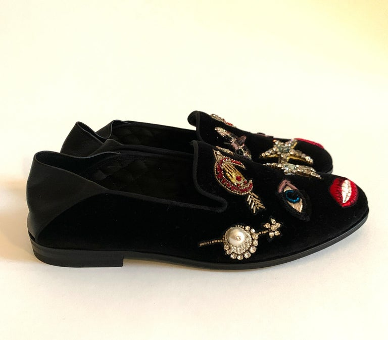 Black New Alexander Mcqueen Obsession Charm Velvet Loafers Smoking Slippers Flat Shoes For Sale