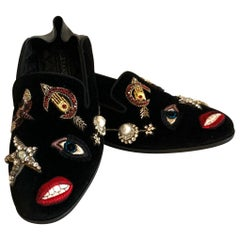 New Alexander Mcqueen Obsession Charm Velvet Loafers Smoking Slippers Flat Shoes