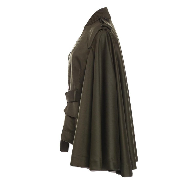 Black New Alexander McQueen Olive Green Wool Cape Jacket Coat Size 4/6 For Sale