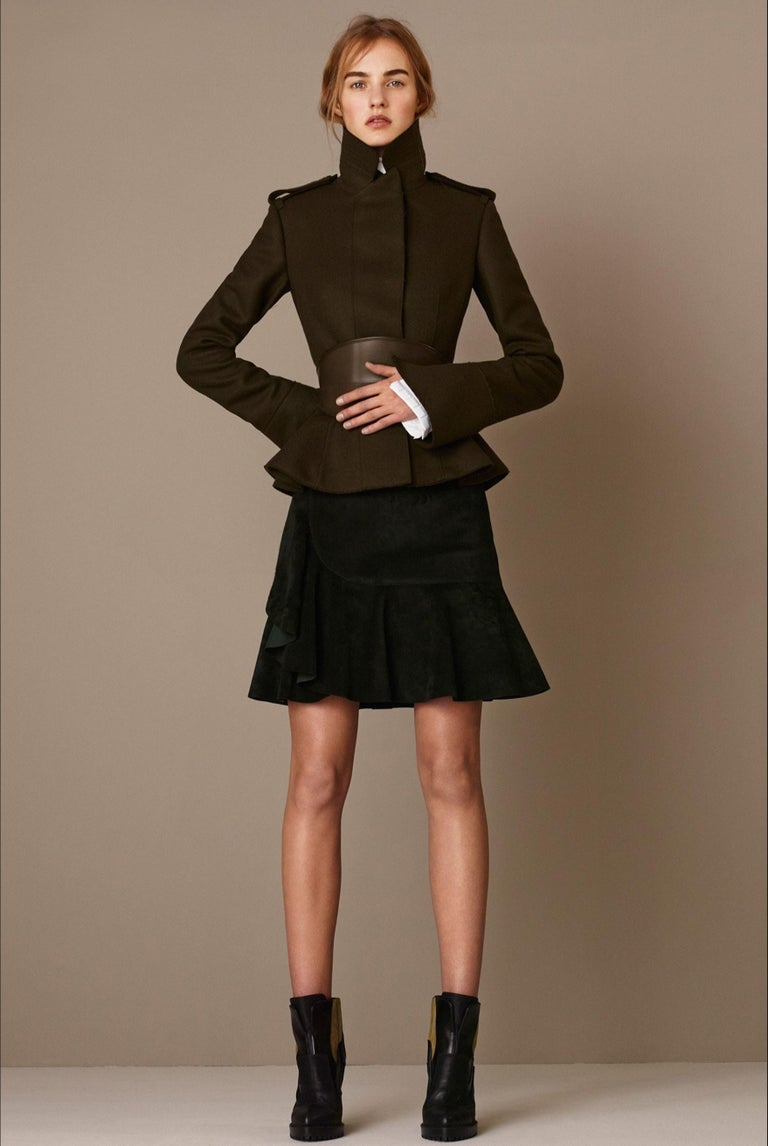 Alexander McQueen Pre-Fall 2015 Brand New  $3950 Butter Soft Wool IT44  Roughly U.S.  large 4, medium 6 or small 8 Olive Mock Knit at Neck Zips and Belted at Waist Fully Lined Two Front Pockets  Bust: 37