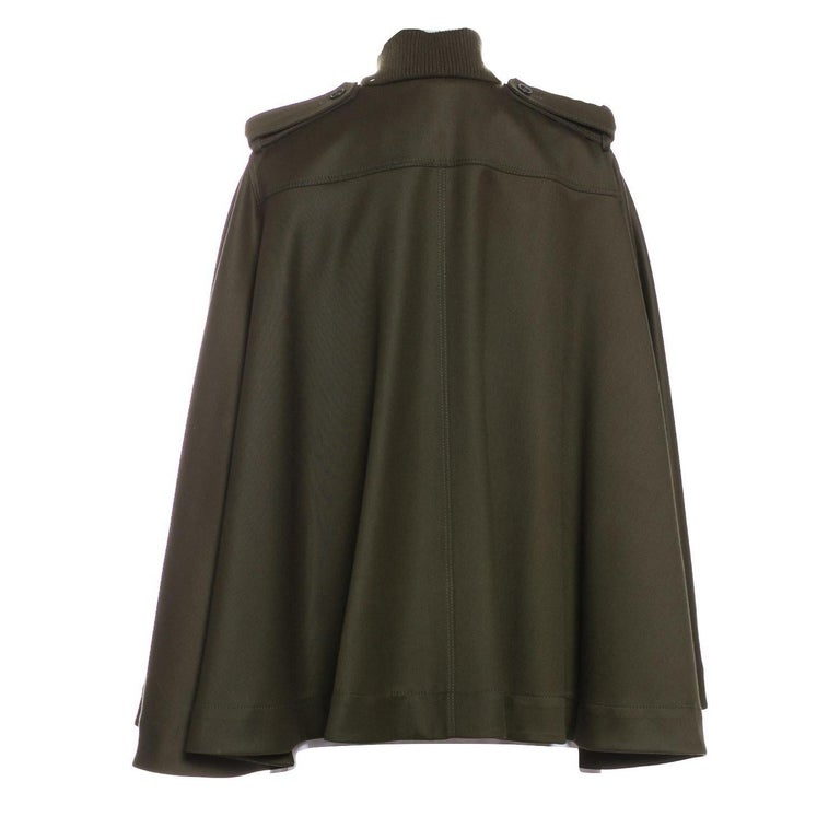 New Alexander McQueen Olive Green Wool Cape Jacket Coat Size 4/6 In New Condition For Sale In Leesburg, VA