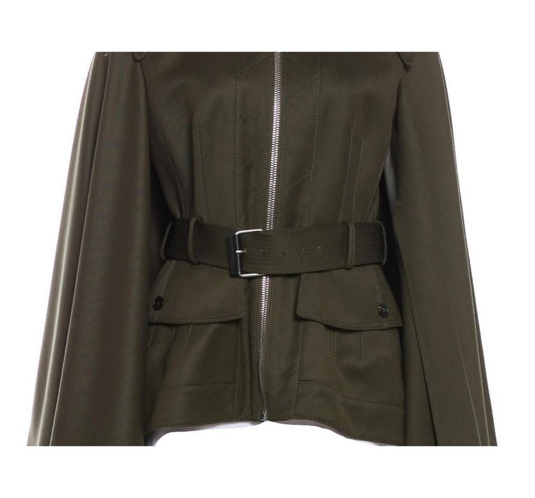 Women's New Alexander McQueen Olive Green Wool Cape Jacket Coat Size 4/6 For Sale