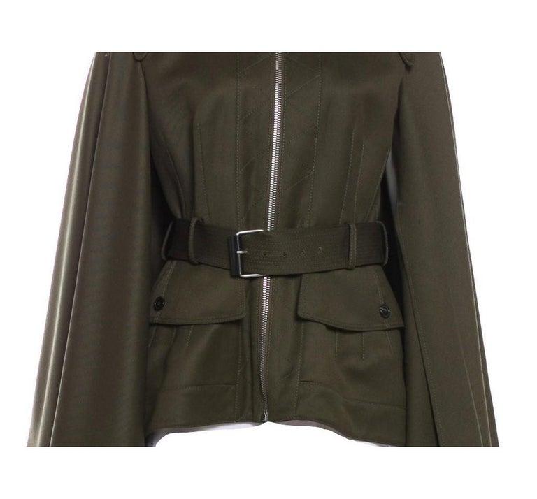 Women's New Alexander McQueen Olive Green Wool Cape Jacket Coat Size 4/6 For Sale