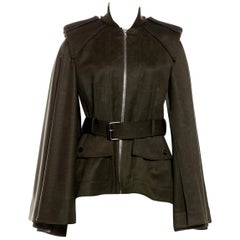 New Alexander McQueen Olive Green Wool Cape Jacket Coat Size 4/6
