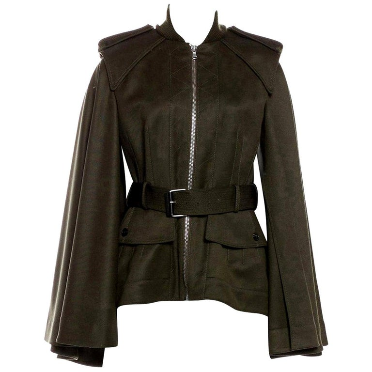New Alexander McQueen Olive Green Wool Cape Jacket Coat Size 4/6 For Sale