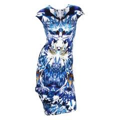 New Alexander McQueen S/S 2009 Blue Kaleidoscope Crystal Dress It. 42