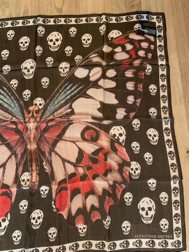 New Alexander Mcqueen Silk Butterfly and Skull Semi-Sheer Black Scarf  In New Condition For Sale In San Francisco, CA