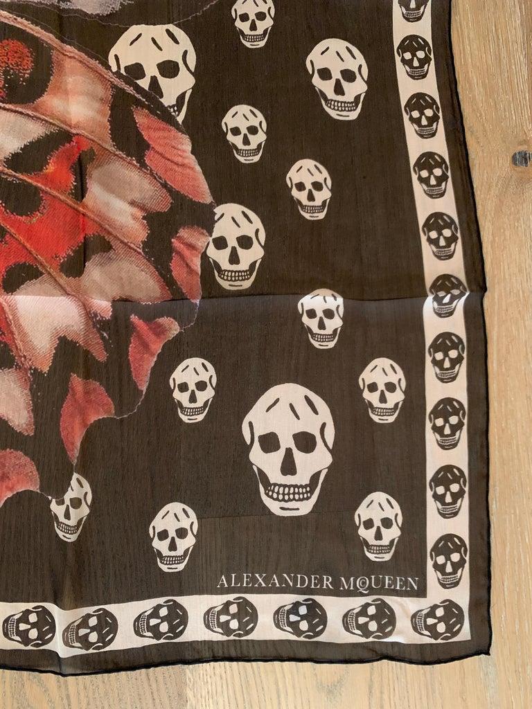 Women's or Men's New Alexander Mcqueen Silk Butterfly and Skull Semi-Sheer Black Scarf  For Sale