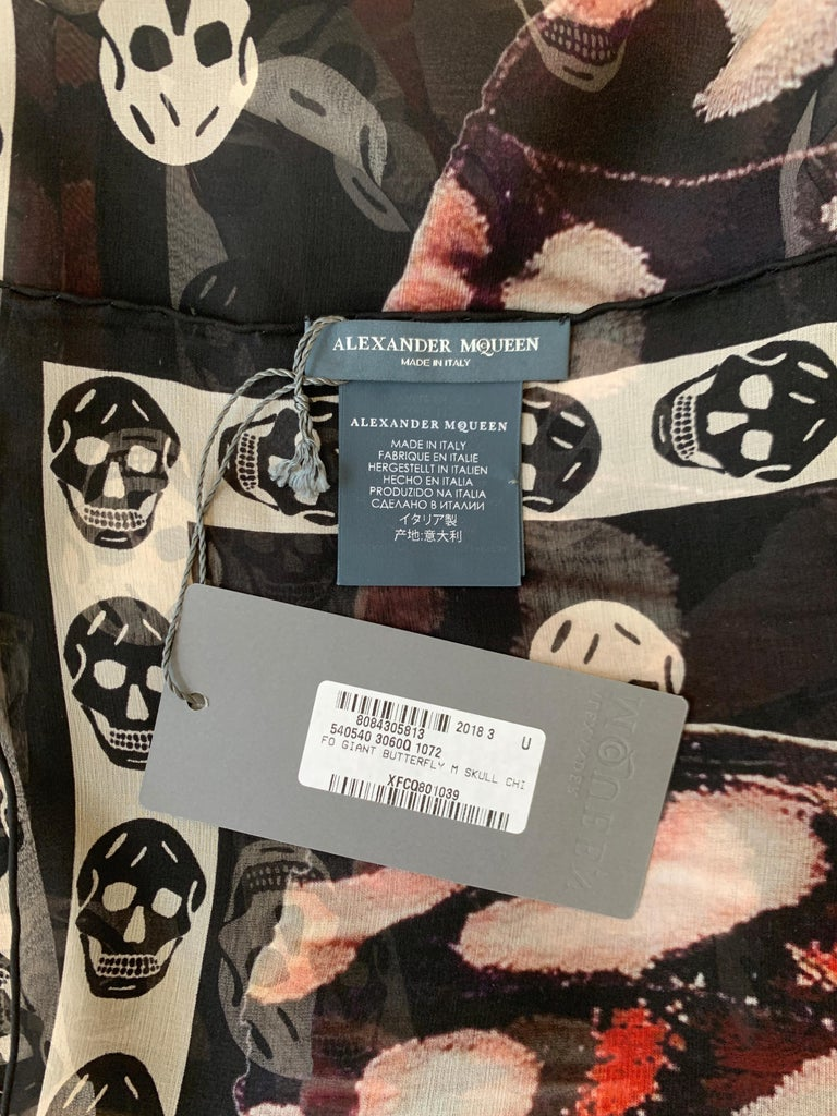 New Alexander Mcqueen Silk Butterfly and Skull Semi-Sheer Black Scarf  For Sale 1