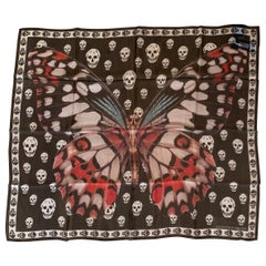 New Alexander Mcqueen Silk Butterfly and Skull Semi-Sheer Black Scarf