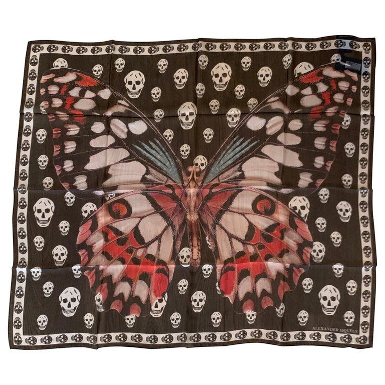 New Alexander Mcqueen Silk Butterfly and Skull Semi-Sheer Black Scarf  For Sale