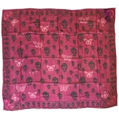 New Alexander Mcqueen Silk Butterfly and Skull Semi-Sheer Fuchsia Red Scarf