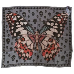 New Alexander Mcqueen Silk Butterfly and Skull Semi-Sheer Grey Scarf