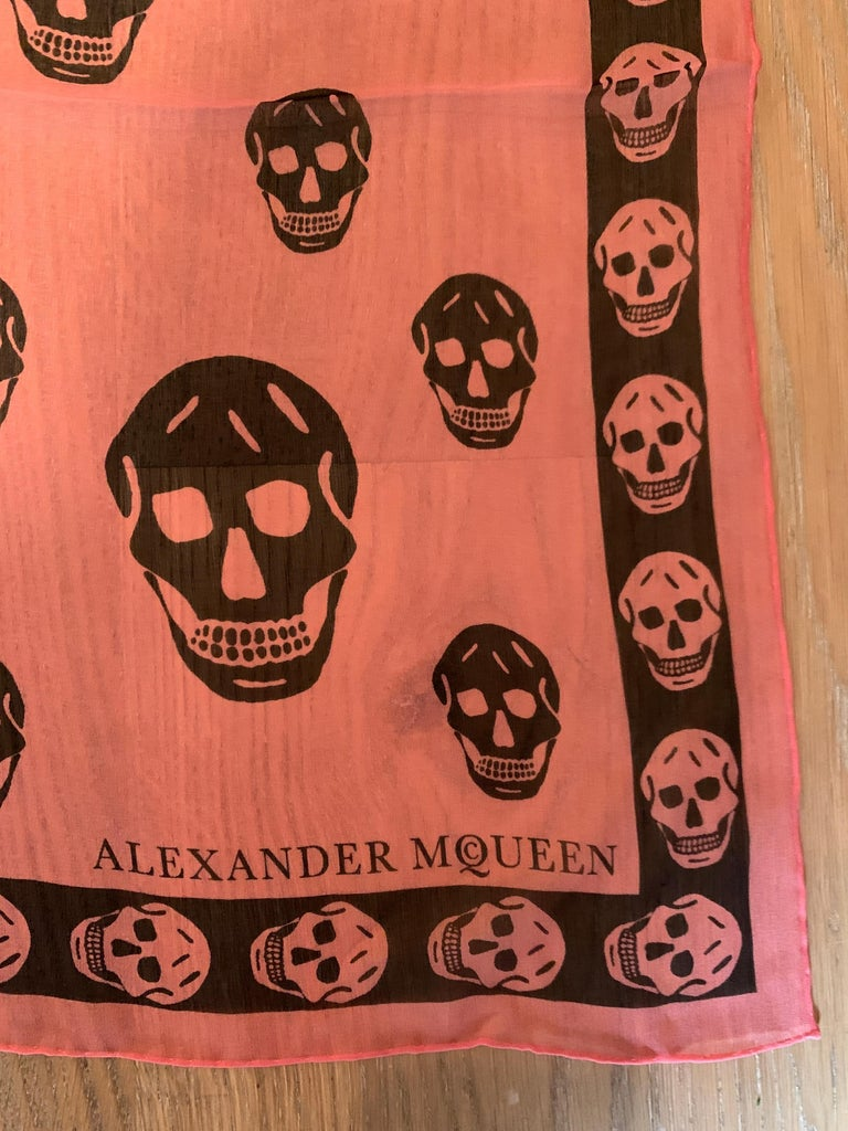 Brown New Alexander Mcqueen Silk Butterfly and Skull Semi-Sheer Pink Scarf