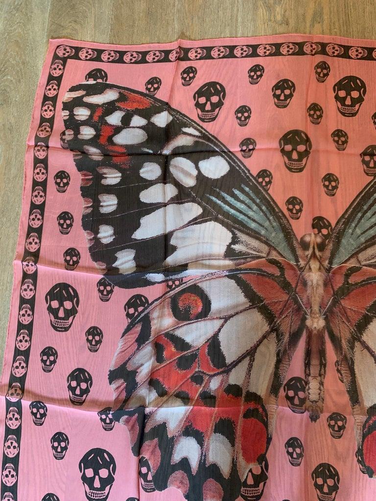 Women's or Men's New Alexander Mcqueen Silk Butterfly and Skull Semi-Sheer Pink Scarf