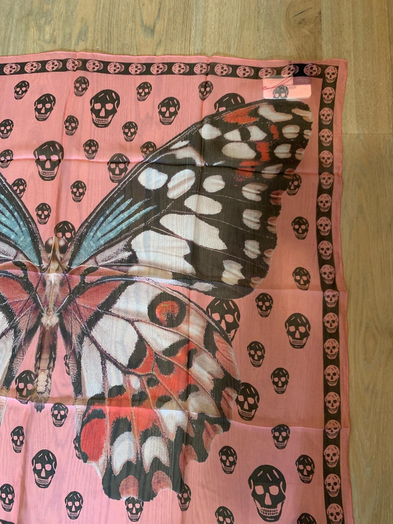New Alexander Mcqueen Silk Butterfly and Skull Semi-Sheer Pink Scarf  1