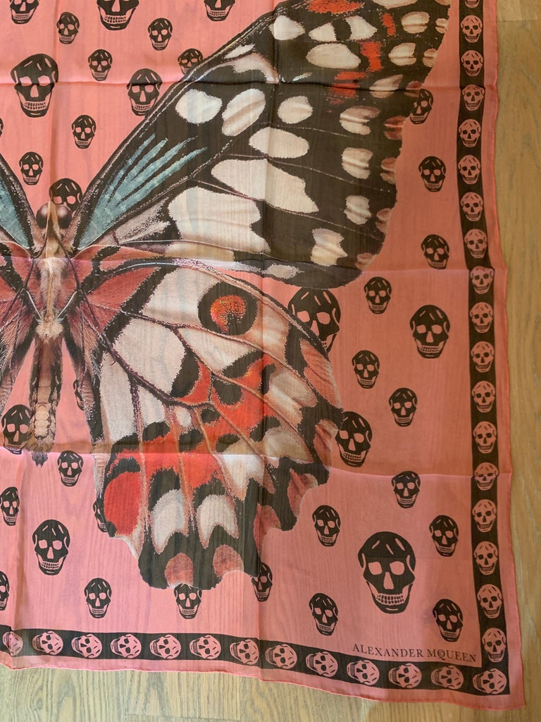 New Alexander Mcqueen Silk Butterfly and Skull Semi-Sheer Pink Scarf  2