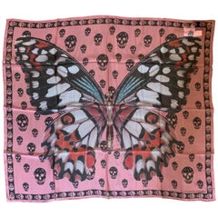 New Alexander Mcqueen Silk Butterfly and Skull Semi-Sheer Pink Scarf