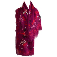 New Alexander McQueen Skeleton Fairy Magic Night Skull Scarf in Plum and Red