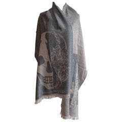 New Alexander McQueen Skull and Flower Scarf in Grey