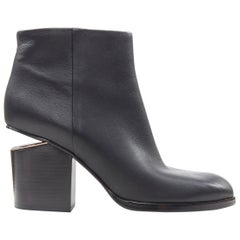 new ALEXANDER WANG Gabi black leather copper plated cut out ankle bootie EU38