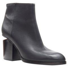 new ALEXANDER WANG Gabi black leather copper plated cut out ankle bootie EU40