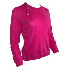 New Altuzarra Bright Pink Lightweight Merino Sweater Screw Head Novelty Buttons