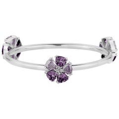New Amethyst and Lavender Amethyst Triple Blossom Mixed Stone Bangle Bracelet