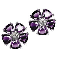 New Amethyst Blossom Large Stone Stud Earrings