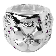 Amethyst Blossom Pave Statement Dome Ring