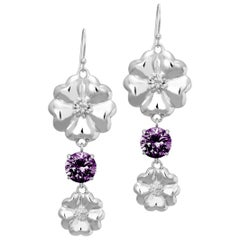 New Amethyst Double Blossom Circle Strong Dangles