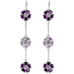 Amethyst and Lavender Amethyst Blossom Gentile Alternating Chandelier Earrings