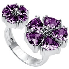 Amethyst Mixed Blossom Stone Open Ring