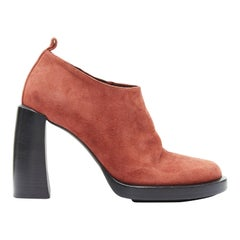 new ANN DEMEULEMEESTER burnt red suede platform curved chunky heel bootie EU38