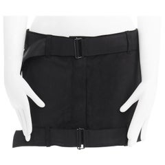 new ANN DEMEULEMESTER black matte leather buckle belted hem mini skirt FR36 31""