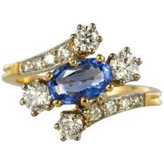 Antique Style Sapphire Diamond Gold Platinum Ring
