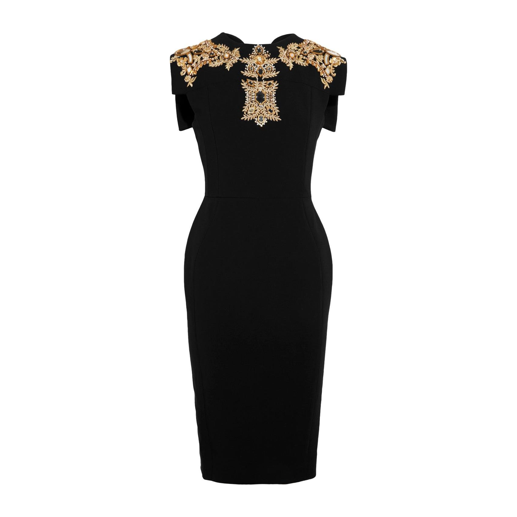 New ANTONIO BERARDI Mirror and Pearl Embroidery black stretch dress 42 - 6
