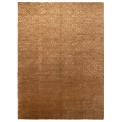 New Arabesque Gold and Brown Wool and Silk Rug