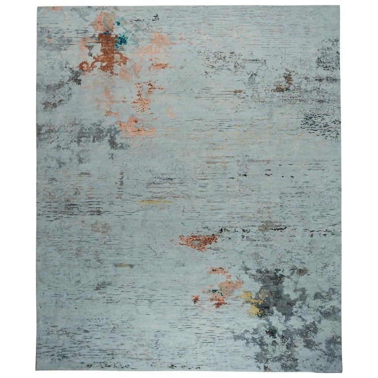New Area Rug with Modern Watercolor Art Design Made of Fine Wool and Real Silk For Sale